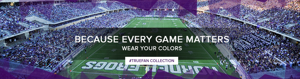 Picture with football theme. Because every game matters, wear your colors, use shop #truefan. Click to shop Truefan Collection.
