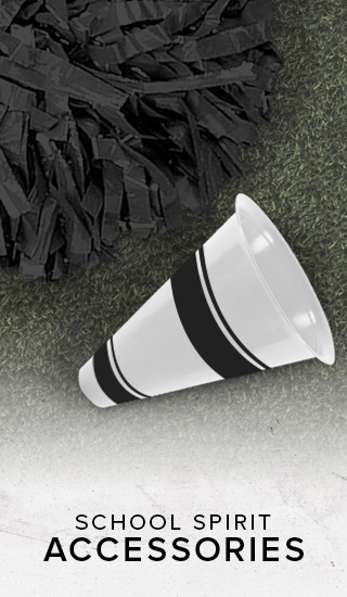 Picture of pom pom and megaphone. School Spirit accessories. Click to shop school accessories.